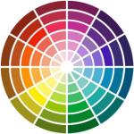 Roues des couleurs et présentations de vente