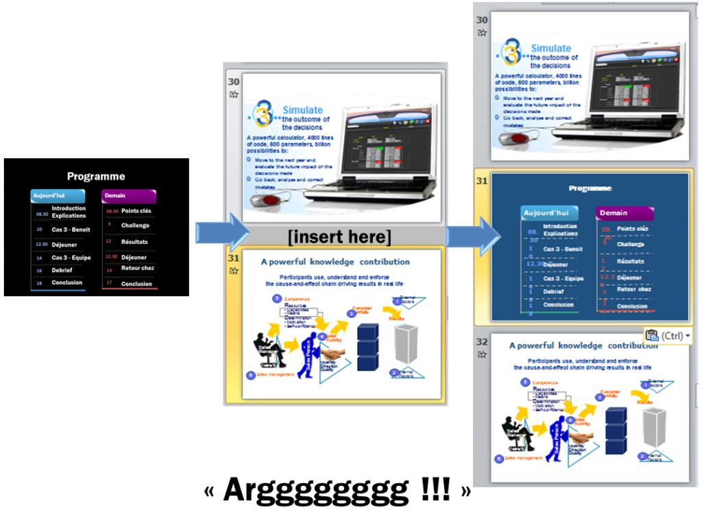 Comment conserver la mise en page d'un slide collé dans une autre présentation